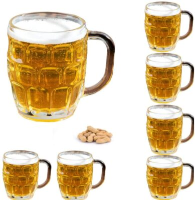 Set of 6 Dimple Stein German Beer Glass Mug With Large Handle -16 oz Clear