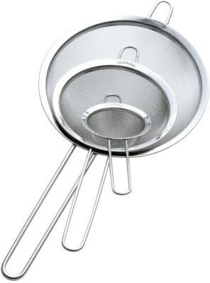 """Zesproka ZP129 Set of 3 Stainless Steel Fine Mesh Strainers for Kitchen, 3.26"""", 5.78"""", 7.75"""", Silver"""