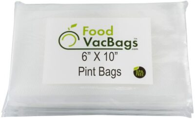 200 FoodVacBags 6-inch X 10-inch Pint Vacuum Sealer Bag Pouches, Food Storage Bags, Compatible with Foodsaver