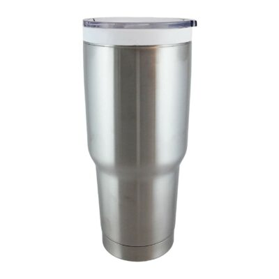 CeramiSteel 32 ounce Travel Mug with Lid, Ceramic Coated Stainless Steel Tumbler, Double Walled Vacuum Insulated, BPA Free, Stainless Finish
