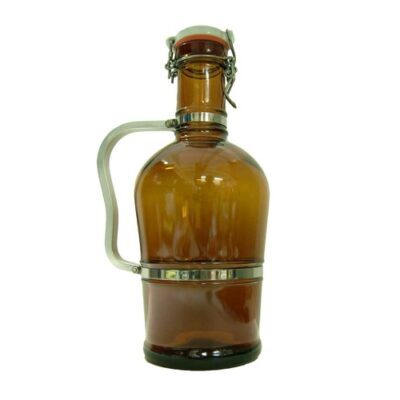 Fancy Widemouth Brown Swing Top Growler - 2 L GL520