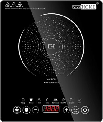 Roll over image to zoom in VIDEO VIVOHOME 120V 1800W Electric Portable Induction Cooktop with 8 Preset Buttons, Sensor Touch Countertop Burner with 180-Min Countdown Timer and 0-24H Timing Start, 140 - 460℉ Temperature Adjustable