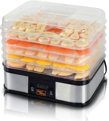SuperHandy Food Dehydrator Electric Preserver Machine 5 Tray Layer BPA Free Digital Timer 1-48h Temperature Range 104F (40C) - 158F (70C) for Jerky/Meat/Fruit/Vegetable