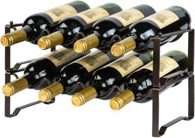 Bextsrack 2 Tier Countertop Wine Rack, Freestanding Stackable Wine Bottle Holder, Tabletop Metal Wine Storage Stand for Cabinets Bar - Hold 8 Bottles, Bronze