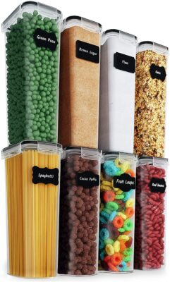 Chef's Path Airtight Tall Food Storage Container Set - Ideal for Spaghetti, Noodles & Pasta - All Same Size - Kitchen & Pantry Organization - Plastic Canisters with Durable Lids (8)