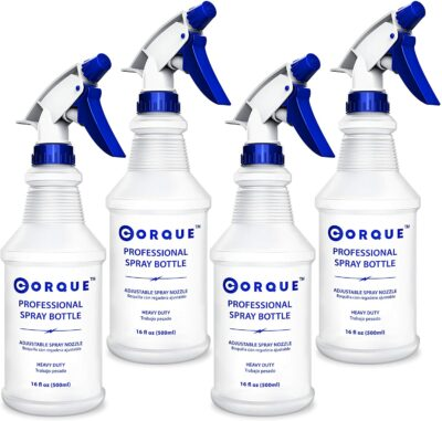 CORQUE Plastic Spray Bottles, 4 Pack, 16 oz, Adjustable Nozzle for Plants, Cleaning (Not For Bleach), Leak Proof, Reusable with Measurements