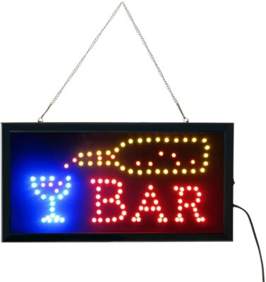 Led Bar signs,Bar Open Sign Led Neon Light Sign Electric Display Sign 19x10inch Two Modes Flashing & Steady Light